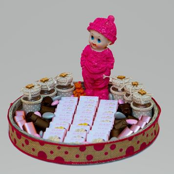 """Picture of """"It's A Girl """"  Wooden Rounded Tray"""