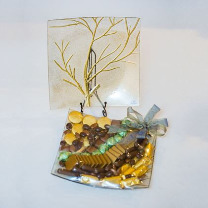 """Picture of Tree of Life 12"""" Square Glass Chocolate Platter"""